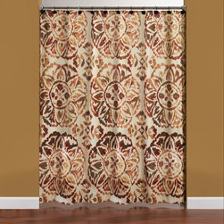 Saturday Knight LTD - Saturday Knight Basma Shower Curtain and 12-piece Hook Set - An upbeat floral medallion pattern lends global elegance to any bathroom decor with this linen-look shower curtain set. Decorated with warm tones,this machine washable shower curtain comes with twelve resin/metal hanging hooks.