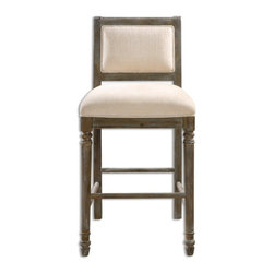 Uttermost - Uttermost - Runako Barstool In Rich Pewter/Washed Wood Grain - 23213 - Solid, carved hardwood frame with turned fluted legs, supportive back and sturdy cross stretchers. Rich pewter-washed wood grain finish and creamy parchment chenille seat.
