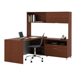 Bestar - Bestar Pro-Linea L-shaped with Hutch Kit in Cognac - Bestar - Executive Desks - 12085276 - The clean lines of this collection bring a fresh look without compromising functionality and durability. Combining thick work surfaces silver metal legs and two tiers of work surfaces Pro-Linea has all the elements to create a modern and refined work environment.