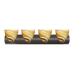 Besa Lighting - Besa Lighting 4WZ-7572HN Sasha 4 Light Reversible Bathroom Vanity Light - Sasha II has a classical bell shape that complements aesthetic, while also built for optimal illumination. This unique decor is handcrafted, with layered swirls of yellow-amber and golden-brown against white, finished to a high gloss. It's classic swirl pattern and high gloss surface has a truly florid gleam. Honey is a hand-blown glass designed to have a shiny and polished finish. The glass is gathered and rolled into shape a unique pattern is formed that cannot be replicated. This blown glass is handcrafted by a skilled artisan, utilizing century-old techniques passed down from generation to generation. Each piece of this decor has its own unique artistic nature that can be individually appreciated. The vanity fixture is equipped with sleek arcing die cast lamp holders and matching radiused rectangular canopy.Features: