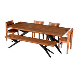 Modern Rustic Spyder Loft Industrial Dining Table & Chair Set w Bench - This Rustic Industrial Solid Wood and Iron Airloft Dining Table & Chair Set w Bench is casual, rustic, durable, natural and everything you've come to expect from Sierra Living Concepts.