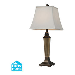 Dimond Lighting - Quensbury 1-Light Table Lamp in Amber Smoked Glass, Bronze Base, Cap - Dimond Lighting HGTV133 Queensbury 1-Light Table Lamp in Amber Smoked Glass and Bronze Base and Cap