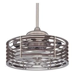 Savoy House - Sea Side Fan D'Lier - Combines the elegance of a chandelier with the functionality of a ceiling fan, satin nickel finish, UL damp location rated.