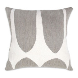 "Jonathan Adler - Jonathan Adler Brasilia Diamonds Pillow-Grey and White - Pulling design inspiration from shapes and colors found in nature, our hand-embroidered Brasilia Pillows are a chic way to bring something natural into your home. Each pillow is made from soft wool using an elaborate chain-stitch technique.• handmade 100% wool chain stitching• rayon stitch detail• 18"" x 18""• feather/down stuffer included"