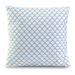 Suryan Embroidered Accent Pillow - Blue embroidery creates a shell inspired pattern in the Suryan accent pillow, made with 100% cotton.