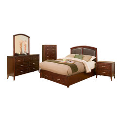 Alpine Furniture - Atherton 5 PC Full Panel Bedroom Set with Faux Leather Headboard and Storage Foo - Atherton 5 PC Full Panel Bedroom Set with Faux Leather Headboard and Storage Footboard
