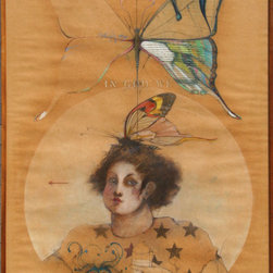 Ramon Santiago, Butterfly, Pastel and Mixed Media Drawing - Artist:  Ramon Santiago, American (1943 - 2001)