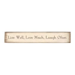 Stencil Ease - Live Well Love Much Laugh Often Stencil - Live Well Love Much Laugh Often - Simple Script style lettering.  Letter heights are based on ascenders and descenders (extend above mid-line and below baseline).