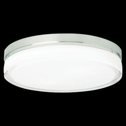 Tech Lighting - Cirque Flushmount by Tech Lighting - The Tech Lighting Cirque Flushmount provides bright illumination in a slim and circular design suitable to both transitional and contemporary spaces. The pressed and polished glass shade is set within a die-cast base. Its versatility is evident in the availability of two finishes, two sizes, energy-saving fluorescent, LED (Large only) and incandescent lamping options, and installation on either the wall or ceiling. ADA compliant.Tech Lighting, headquartered in Skokie, IL, is known for their innovative lighting systems and exquisite lighting designs. Their passion for art, sophistication and imagination is balanced by rigorous testing and quality control in the creation of their line-voltage and low-voltage lighting, including the Tech Lighting FreeJack and monorail systems and track heads.The Tech Lighting Cirque Flushmount is available with the following:Details:Pressed glass shadeDie-cast metal baseEnergy efficient fluorescent and LED options available (Large only)LED lamps: 600 lumens, 2700K color temperatureLED option dimmable with low voltage electronic dimmer (not included)Incandescent option dimmable with standard incandescent dimmer (not included)ADA Compliant when installed on wallETL Listed for wet locations when installed on ceilingOptions:Finish: Chrome, or Satin Nickel.Lamping: Fluorescent, Incandescent, or LED.Size: Large, or Small.Lighting:Large Fluorescent option utilizes two 13 Watt 120 Volt Type 2GX7 Fluorescent lamps (included).Large Incandescent option utilizes two 40 Watt 120 Volt Type G9 Halogen lamps (included).Large LED option utilizes two 10 Watt 120 Volt LED lamps (included).Small Incandescent option utilizes one 40 Watt 120 Volt Type G9 Halogen lamp (included).Shipping:This item usually ships within 3 to 5 business days.
