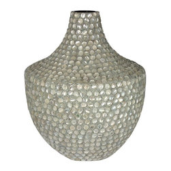 Mother Of Pearl Encrusted Vase - SKU: EN30641 - Pearl encrusted vase brightens up any location where the pearl vase is placed at, can be used for any occasion.