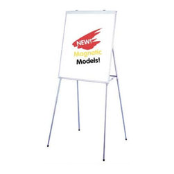 "Testrite - Portable Presentation Easel (4 leg design) - This easel is designed to go anywhere you need it to with its telescopic aluminum alloy legs. Features: -Telescopic aluminum alloy legs -Unit folds to 28-1/2"" x 38"" x 3"" -Writing surface dimensions: 27"" W x 36"" H -Metal clutch locks -All models accept flipcharts -Unique, grooved, 4-leg design for easy alignment into 3 positions -Full length marker/chalk tray -Spring-loaded flipchart bar for pads -Aluminum frame -Weight: 11 lbs or 17 lbs for magnetic model"