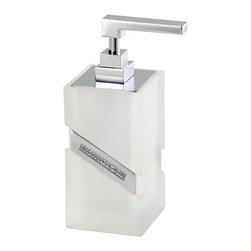 Countertop soap dispenser. Frosted glass. - This classy soap dispenser has a diva streak, with that sparkling band of Swarovski crystal bedazzle on the side. Stylish and sassy in frosted glass and polished chrome, it'll take your bathroom to another level of elegance.