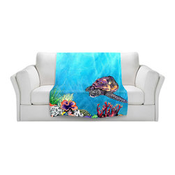 DiaNoche Designs - Fleece Throw Blanket by Brazen Design Studio - Sea Turtle - Original Artwork printed to an ultra soft fleece Blanket for a unique look and feel of your living room couch or bedroom space.  DiaNoche Designs uses images from artists all over the world to create Illuminated art, Canvas Art, Sheets, Pillows, Duvets, Blankets and many other items that you can print to.  Every purchase supports an artist!