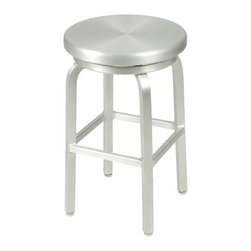 Eurostyle - Miller-C Counter Swivel Stool-Alum - Post up to the counter and take a seat on this stylish stool. The durable feet keep you steady as you enjoy a good meal. The stool also swivels, making it easier to swing around when it's time to step away from the fun.