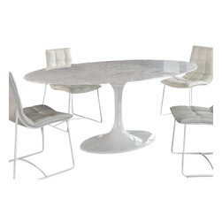 """Fine Mod Imports - 78"""" Eero Saarinen Style Oval Tulip Marble-top Dining Table White - Achieve the perfect completion of time and grace with the Oval Eero Saarinen Style Table. Reflect seamlessly, as organic shapes and a slender stem-like pedestal glide you to the perfect vantage point. Elevate your surroundings beyond the sharp four-cornered traditional table as you blend divergent perspectives into one centrifugal force par excellence."""