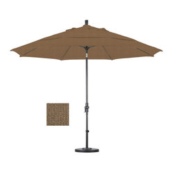 None - Premium 11-foot Sesame Fiberglass Woven Umbrella with 50-pound Stand - This durable umbrella features an impressive 11-foot diameter and includes a 50-pound capacity stand. Avaiable in versatile sesame, this umbrella is completed with an advanced collar tilt system.