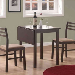 Monarch - Cappuccino 3-piece Solid Top Drop-leaf Dinette Set - If space in your dining area is at a premium, then this three-piece drop-leaf dinette set is an essential must-have. This elegant yet simplistically styled dinette set is crafted from wood and veneers with a dark finish and provides seating for two.