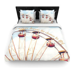"""Kess InHouse - Beth Engel """"The Chance To Fly"""" Ferris Wheel Cotton Duvet Cover (Queen, 88"""" x 88"""" - Rest in comfort among this artistically inclined cotton blend duvet cover. This duvet cover is as light as a feather! You will be sure to be the envy of all of your guests with this aesthetically pleasing duvet. We highly recommend washing this as many times as you like as this material will not fade or lose comfort. Cotton blended, this duvet cover is not only beautiful and artistic but can be used year round with a duvet insert! Add our cotton shams to make your bed complete and looking stylish and artistic!"""