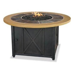 Uniflame LP Gas Fire Pit Table with Slate and Faux Wood Mantel - The contemporary Uniflame LP Gas Fire Pit Table with Slate and Faux Wood Mantel is designed for safe wood-burning with its stainless steel burner and control panel with electronic ignition. -Mantels Direct