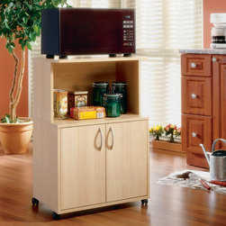 Nexera - Delissio Microwave Cart - The Delissio collection from MFI / Nexera offers simple, functional storage options for your kitchen, big or small. The slight curves and accessible storage spaces keep all your kitchen essentials close at hand in modern, stylish kitchen carts. The Delissio Microwave Kitchen Cart with Enclosed Storage Space boasts an enclosed storage space with a small hutch above it. Two doors conceal the storage space on the bottom. The hutch raises the microwave, allowing other items to be stored below it. Casters give this cart mobility, allowing it to be used in any size space. The natural maple finish enhances the undemanding and stylish look of this cart. Features: -One adjustable shelf.-With enclosed storage space.-Constructed of Medium Density Fiberboard (MDF) and Particle Board.-Natural Maple finish.-Collection: Delissio Kitchen Carts.-Distressed: No.-Country of Manufacture: Canada.Dimensions: -Hutch dimensions: 13.75'' H x 15.75'' W x 23.75'' D.-Two-Door Storage Unit dimensions: 18.38'' H.-Overall dimensions: 36'' H x 23.75'' W x 15.88'' D.-Overall Product Weight: 45 lbs..Warranty: -Lifetime warranty on all hardware.-5 Year limited warranty on product.