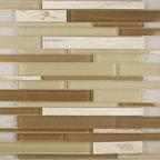 "Glass & Stone Mosaic - Ceramic Tileworks - Ike Glass & Stone Mosaic - Asian White Blend (12"" x 12"" Sheet)"