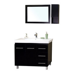 "Bella Terra - Bellaterra 39"" Single Sink Vanity in Wood-Black -Right Side Drawers - Satisfy your home design needs with this black finished vanity offering a contemporary smart design with plenty of storage space and traditional features. The modern bathroom vanity is constructed of Solid wood. Features include an oversized white ceramic sink and counter-top and modern chrome accents. The style and beauty of the vanity is an exquisite design for a bathroom."