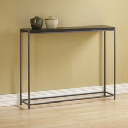 """TFG - Wabash Console Table - Features: -Wipe clean with damp cloth.-Frame construction: 0.5'' steel rod powdercoated silver sparkle.-Top construction: 1'' thick veneered.-Top finish: Java.-Wabash collection.-Collection: Wabash.-Distressed: No.-Top Finish: Java stain finish.-Base Finish: Silver Sparkle powdercoat.-Powder Coated Finish: Yes.-Gloss Finish: Yes.-Top Material: Wood veneer.-Base Material: Steel.-Solid Wood Construction: No.-Reclaimed Wood: No.-Weather Resistant or Weatherproof: Not weather resistent.-UV Resistant: No.-Scratch Resistant: No.-Stain Resistant: No.-Moisture Resistant: No.-Drop Leaf Top: No.-Lift Top: No.-Adjustable Height: No.-Glass Component: No.-Nested Stools Included: No.-Legs Included: Yes -Number of Legs: 4.-Leg Type: Straight..-Magazine Rack: No.-Casters: No.-Exterior Shelves: No.-Cabinets Included: No.-Drawers: No.-Corner Block: No.-Cable Management: No.-Weight Capacity: 40 lbs.-Outdoor Use: No.-Swatch Available: Yes.-Commercial Use: No.-Recycled Content: No.-Eco-Friendly: Yes.-Product Care: Wipe clean with a dry cloth.Specifications: -FSC Certified: No.-ISTA 3A Certified: No.-ISTA 1A Certified: No.-CARB Certified: Yes.-General Conformity Certified: No.-ISO 9000 Certified: No.-ISO 14000 Certified: No.Dimensions: -Overall Product Weight: 26 lbs.-Overall Height - Top to Bottom: 28.5"""".-Overall Width - Side to Side: 36"""".-Overall Depth - Front to Back: 8"""".-Table Top Thickness: 1"""".-Table Top Width - Side to Side: 36"""".-Table Top Depth - Front to Back: 8"""".-Shelving: No.-Cabinets: No.-Legs: -Leg Height - Top to Bottom: 28""""..Assembly: -Assembly Required: No.-Tools Needed: No tools needed.-Additional Parts Required : No.Warranty: -Product Warranty: 1 year limited warranty."""