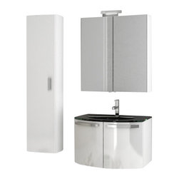 ACF - 28 Inch Glossy White Bathroom Vanity Set - Designed for the contemporary style bathroom, this bathroom vanity set was made in Italy by ACF.