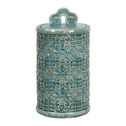 """IMAX - Kendall Teal Canister- Large - Bring a taste of the orient to your home. This large Kendall Teal Canister's vibrant color can brighten your home. Item Dimensions: (14""""h x 7.75""""w x 7.75"""")"""