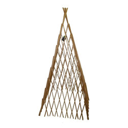 "Master Garden Products - Barkless Carbonized Willow Expandable Teepee, 24""L x 60""H - Our expandable four sided carbonized barkless willow teepee is self standing. Constructed from skinless processed willow saplings nailed together on the diagonal portion of the structure, our trellis is sturdy enough for tomatoes and adds a rustic look to your garden. Four-sided construction lets you place the trellis over plants or you can grow them around its perimeter. Light mahogany color with classic wood finish, carbonized to protect them from outdoor elements."