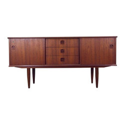 Pre-owned Mid-Century Danish Teak Sideboard/Media Stand - This is the perfect medium-sized media stand to complete any Mid-Century home decor. It is simple, elegant and time tested. The piece was made in Denmark in the early 1960s. It has a few minor scuffs and scratches appropriate for its age, but overall it is in very good condition.
