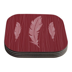 "Kess InHouse - Jaidyn Erickson ""Feathers Red"" Coasters (Set of 4) - Now you can drink in style with this KESS InHouse coaster set. This set of 4 coasters are made from a durable compressed wood material to endure daily use with a printed gloss seal that protects the artwork so you don't have to worry about your drink sweating and ruining the art. Give your guests something to ooo and ahhh over every time they pick up their drink. Perfect for gifts, weddings, showers, birthdays and just around the house, these KESS InHouse coasters will be the talk of any and all cocktail parties you throw."