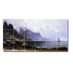 Picture-Tiles, LLC - Mist Clearing Grand Manan Tile Mural By Alfred Bricher - * MURAL SIZE: 24x48 inch tile mural using (18) 8x8 ceramic tiles-satin finish.