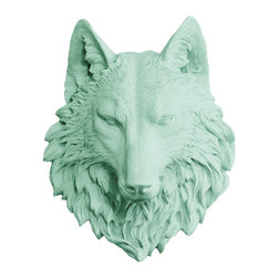 Wall Charmers - Wall Charmers Wolf in Mint | Faux Taxidermy Resin Fake Head Art Fauxidermy Decor - WALL CHARMERS FAUX TAXIDERMY WOLF HEAD