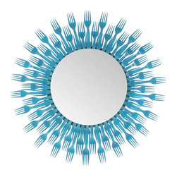 Forked Up Art - Plastic Fork Round Mirror-3 Level -