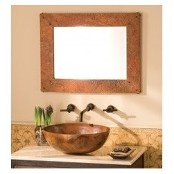 KCK Bathroom Mirrors & Accessories - Small Tuscany Mirror - The Tuscany Rectangle Mirror brings that old world feel to your living space with the unique patina of hand hammered copper and hand forged nails. The Tuscany mirror is a perfect centerpiece for any room in your home.