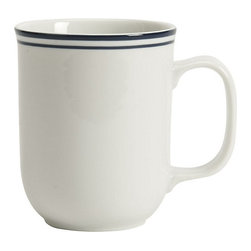 Ballard Designs - Set of 6 Cafe Mugs - Restaurant quality porcelain. Dishwasher & microwave safe. For everyday or entertaining. Mix and match the two patterns. Whether you choose the versatility of pure white or prefer the tailored look of crisp double bands of navy blue, you'll never tire of this classic dinnerware. Durable, restaurant-quality porcelain lends itself to a variety of table settings. Mix and match Dinnerware and Serveware. Cafe Dinnerware features: .  . . .