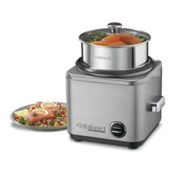 "Cuisinart CRC-800 8 Cup Rice Cooker/Steamer - The Cuisinart CRC-800 8-Cup Rice Cooker/Steamer makes rice easier than ever. This easy-to-use steamer makes up to eight cups of rice and can also steam meats and vegetables. Its square modern shape is finished in brushed stainless steel that looks great on any countertop. This unit operates via a traditional lever control with """"warm"""" and """"cook"""" settings and automatically switches to """"warm"""" when cooking is done.Additional information:Retractable cord storage for tangle-free useAll removable parts are dishwasher-safe; non-stick interior wipes clean easilyTempered-glass cover with stainless rim and handle and chrome-plated knobComplete with stainless steel steaming basket paddle and measuring cup and spoonAbout CuisinartOne of the most recognized names in cookware and kitchen products Cuisinart first became popular when introduced to the public by culinary experts Julia Child and James Beard. In 1973 the Cuisinart food processor revolutionized the way we create fine food and healthy dishes and since that time Cuisinart has continued its path of innovation. Under management by the Conair Corporation since 1989 Cuisinart is a universally celebrated name in kitchens across the globe. With a full-service product line including bakeware blenders coffeemakers cookware countertop appliances kitchen tools and much much more Cuisinart products are preferred by chefs and loved by consumers for durability ease of use superior quality and style."