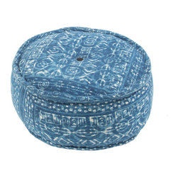 """Jaipur Rugs - Blue Handmade 100% Cotton Pouf (24""""x24""""x12"""") - Dabu cotton Poufs use a resist dying process to create interesting patterns.  This technique will have some variation in color due to the length of time that the die is applied."""