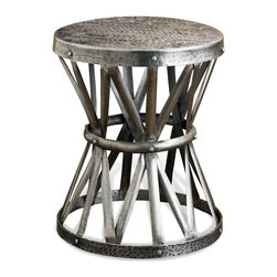 Kathy Kuo Home - Araby Rustic Hammered Antique Silver Accent Side Table - Constructed from hand hammered iron- finished in a deep antique silver finish, this beautiful piece adds depth, and visual texture to any room. Hand made, no two are alike. Larger version available