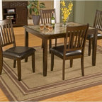 Alpine Furniture - Capitola 5 Piece Dining Set - Features: -Set includes dinette table and four chairs.-Rubberwood solids and faux marble top construction.-Espresso finish.-Collection: Capitola.-Distressed: No.Dimensions: -Table dimensions: 30'' H x 48'' W x 36'' D.-Chair dimensions: 38.25'' H x 19.5'' W x 22.75'' D.Assembly: -Assembly Required.Warranty: -Manufacturer provides 6 months warranty.