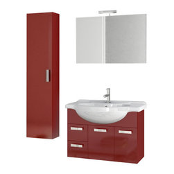 ACF - 32 Inch Glossy Red Bathroom Vanity Set - Set Includes: Vanity Cabinet (2 Doors,2 Drawers), high-end fitted ceramic sink, wall mounted vanity mirror, tall storage cabinet.