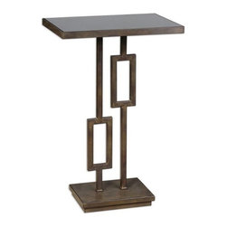 Matthew Williams - Matthew Williams Rubati Accent Table X-44342 - A warm take on contemporary, this geometric inspired iron table has a unique patina reminiscent of deeply tarnished silver with a hint of dark bronze, inset with a black glass top.