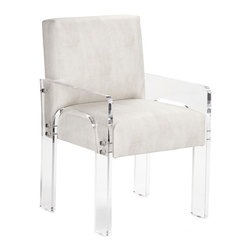 Zentique - Zentique Ariston Acrylic Arm Chair - The Zentique Ariston armchair offers a practical yet dramatic interior accent. Its white faux leather seat exudes sleek appeal, while a clear acrylic frame delivers contemporary flair. White polyurethane upholstery