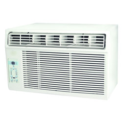 "Keystone - Keystone KSTAW08A Energy Star 8,000 BTU 115-Volt Window-Mounted Air Conditioner - The Keystone KSTAW08A 8,000 BTU 115V Window-Mounted Air Conditioner is perfect for cooling a room up to 350 square feet. It has electronic controls with LED display and a temperature sensing, full-function ""Follow Me"" LCD remote control allowing you to conveniently see, set and maintain the room temperature from across the room. Additional features include energy-saver mode, sleep mode and auto-restart.8,000 BTU air conditioner for window-mounted installation