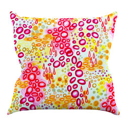 "Kess InHouse - Ebi Emporium ""Circular Persuasion Pink Yellow"" Magenta Throw Pillow (16"" x 16"") - Rest among the art you love. Transform your hang out room into a hip gallery, that's also comfortable. With this pillow you can create an environment that reflects your unique style. It's amazing what a throw pillow can do to complete a room. (Kess InHouse is not responsible for pillow fighting that may occur as the result of creative stimulation)."