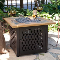 UniFlame Square LP Gas Outdoor Firebowl with Slate and Faux Wood Mantel - Center your outdoor space around something stately like the UniFlame Square LP Gas Outdoor Firebowl with Slate and Faux Wood Mantel. This square fire table places a uniquely weather-resistant slate tile and faux wood tabletop on a lattice-work steel base that hides its fiery belly. Open the access door and slide out the 20 lb. LP tank with its convenient tank drawer. It puts out up to 30 000 BTUs through a stainless steel burner in the bottom of the firebowl covered with elegant fire rock for a look that's hard to forget. Comes with a LP tank cover and fire pit cover. About Blue Rhino/Uniflame/Endless Summer: Blue Rhino Global Sourcing Inc. is America's #1 propane tank exchange brand but it doesn't stop there. Blue Rhino is a leading designer and marketer of outdoor appliances and fireplace furnishings. These products include barbecue grills outdoor heaters outdoor fireplaces mosquito traps and fireplace furnishings. You'll find a Blue Rhino product in the middle of half a billion barbecue events nationwide every year. They come under various brand names including UniFlame Endless Summer and SkeeterVac.