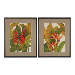 Tropical Bird Of Paradise Tropical Red Ginger Framed Art - Set of 2 - *Tropical Bird Of Paradise And Tropical Red Ginger - Fine Art Giclee Print On Satin Matte Paper. Framed In A Black Wood Textured Frame With Gold Trim And Placed Under Glass. Matt Is Natural Texture Woven Fabric With Narrow Silver Inner Trim.