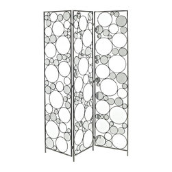 Powell - Powell Reflections Folding Screen X-382-829 - Add fun modern design and style to any room in your home with the Reflections Folding Screen. The screen is perfect for separating a space or simply adding eyecatching pizazz to your home. The open design leaves your room feeling airy. Accented with mirrored circles, the screen will help bounce light around your room, making it seem larger and brighter. A fun addition to a living room or bedroom.