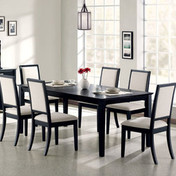 """Coaster - Louise 7 Pcs Dining Set - Enhance your dining room with the modern simplicity of this dining table. Clean, crisp lines and square legs are bathed in deep distressed black finish, while an 18 inch leaf adds to functionality. Extend the table from 60 inches to 78 inches to make room for dinner party guests. Arrange with the matching side chairs for a polished dining room look. Extension Leaf; Fabric Cushion Seats; Black Finish; Transitional Style; Set Includes: Dining Table, 6 Side Chairs. Dining Table: 60""""-78""""L X 40""""W X 30""""H; Side Chair: 22.50""""L X 20""""W X 39""""H; Seat Height: 18""""; Seat Depth: 17.25""""."""